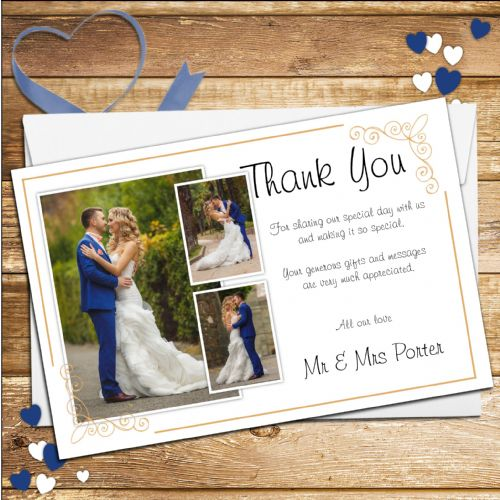 10 Personalised Wedding Day Thank you PHOTO cards N184